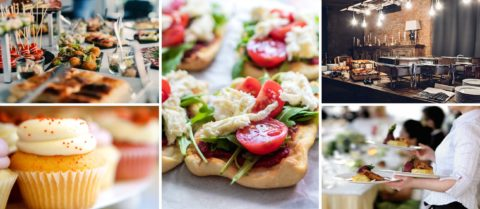 Montage of event catering images, including canapes, cakes and waitresses.